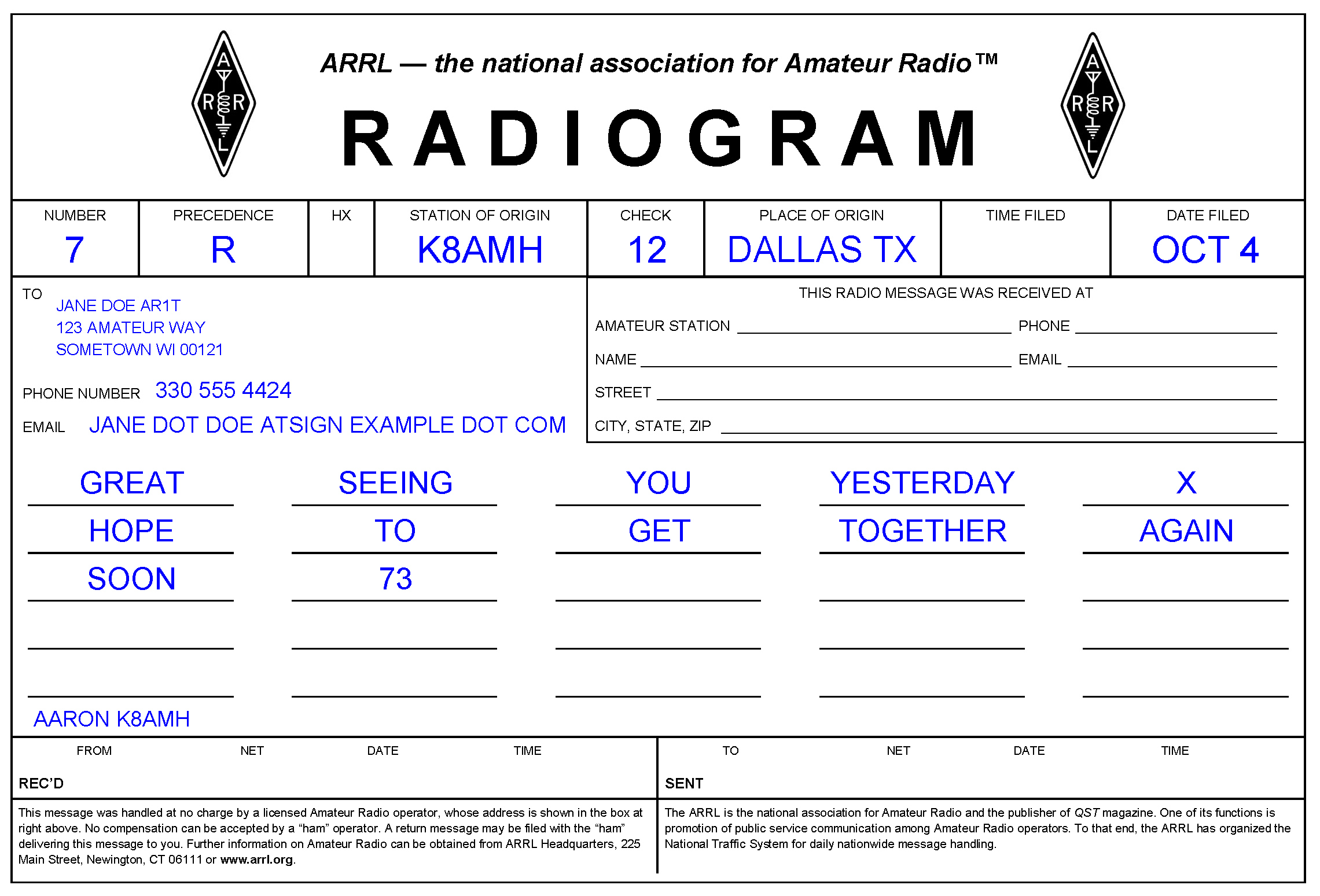 This is the completed radiogram example.